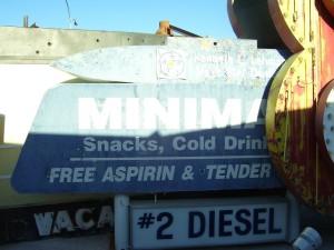 Old gas station offering free aspirin